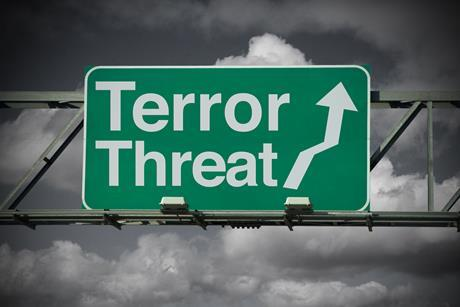 Terror threat sign