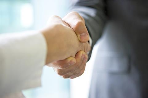 Man woman handshake