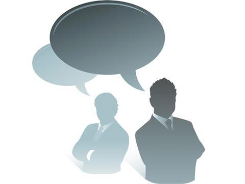 businessman speech bubble opinion