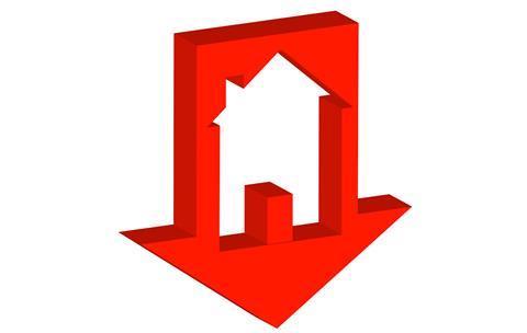 Arrow down house home household