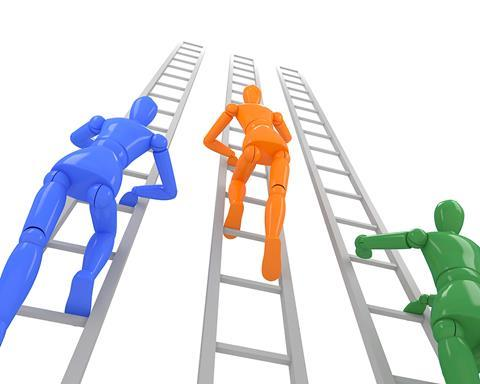Business competition climb ladders
