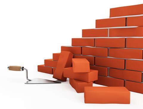 Building construction trowel bricks