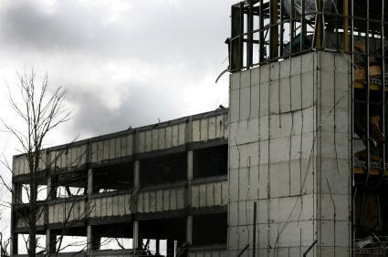 Damage to buildings caused by the Buncefield oil refinery explosion in 2005