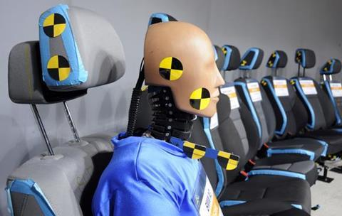 Crash dummies at Thatcham research centre in Berkshire