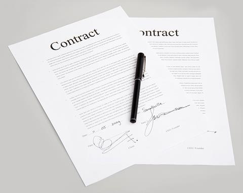 Contract signing paperwork