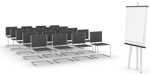 Training meeting chairs flipchart