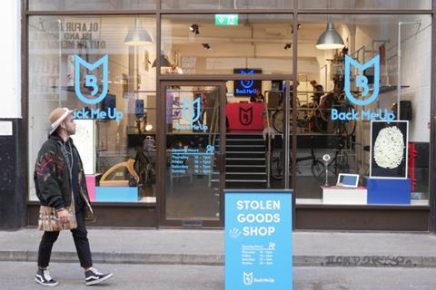 back me up launches uk's first stolen goods shop exterior
