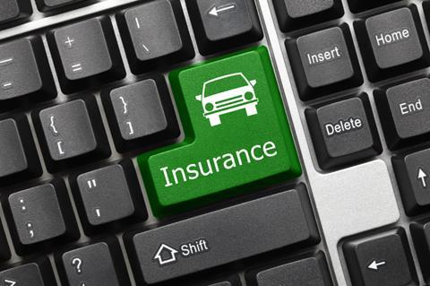 Conceptual keyboard - Insurance (green key with car icon)
