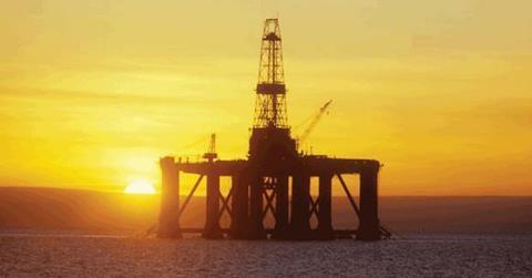 oil rig in water