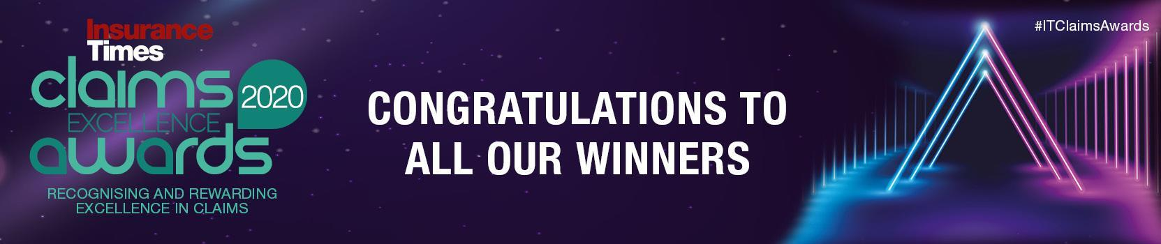 Winners announced | Insurance Times Claims Awards 2020 | 15 October 2020 | Royal Garden Hotel