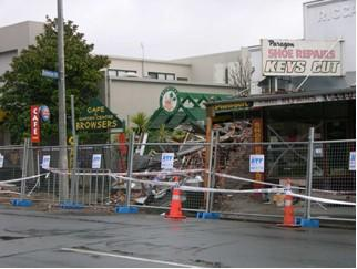 Collapsed old URM buildings in downtown Christchurch